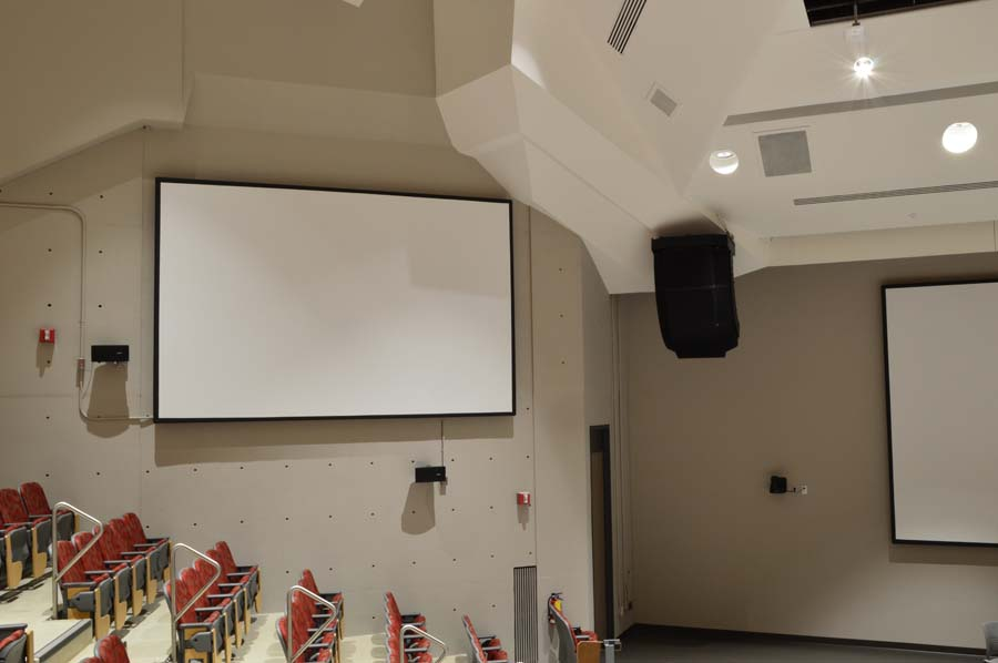 white screen with ceiling lights